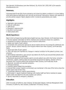 resume on duty letter professional duty templates to showcase your talent myperfectresume
