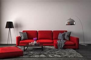 Salon et salle a manger rouge design 30 exemples modernes for Tapis moderne avec canapé texas
