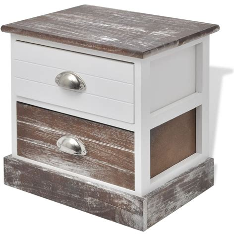 shabby chic bedside cabinets vidaxl co uk vidaxl shabby chic bedside cabinet brown and white