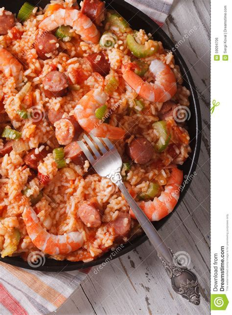 creole cuisine creole cuisine jambalaya up on a plate vertical top view stock photo image 59094706