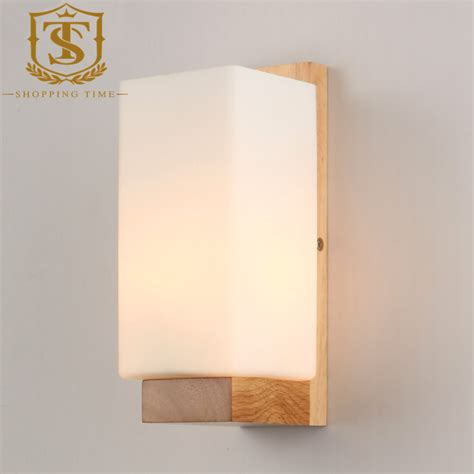 led modern wood wall l glass shade wall sconce bedroom