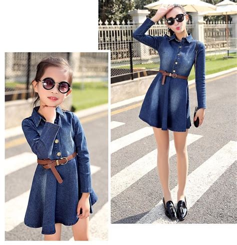 Spring Autumn Korean Style Denim Jean Mother And Daughter Dresses Clothes Mum Daughter Outfit ...