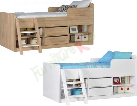 white metal bed cabin bed mid sleeper bed choice of colours felix