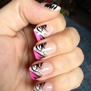 Pink, black, and white nail design | Nails | Pinterest