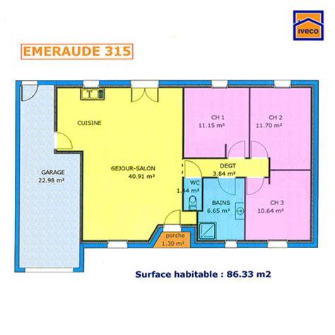 plans maisons plain pied 3 chambres plan de maison individuelle plain pied