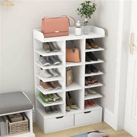 white wooden tiers slim narrow shoe rack storage free