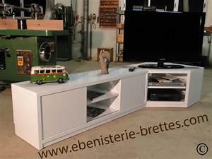 Meuble De Tele D Angle : meuble television angle brillant ebenisterie brettes ~ Nature-et-papiers.com Idées de Décoration