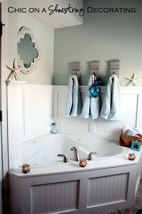 chic   shoestring decorating beachy bathroom reveal
