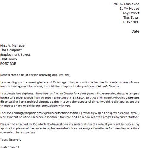 aircraft cleaner cover letter sample lettercvcom