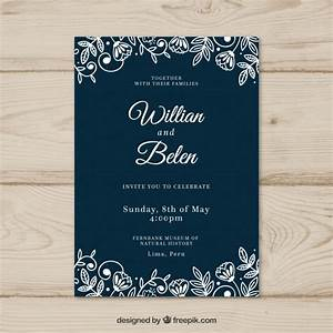 wedding card invitation with flowers vector free download With wedding invitation design freepik