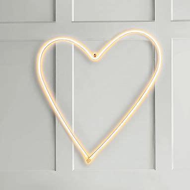 heart neon wall light pottery barn