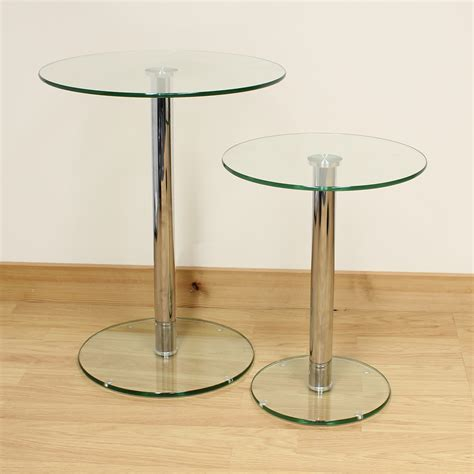 small round glass table hartleys set of 2 small large round clear glass side end
