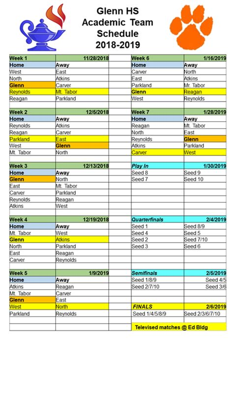schedules calendars academic team schedule