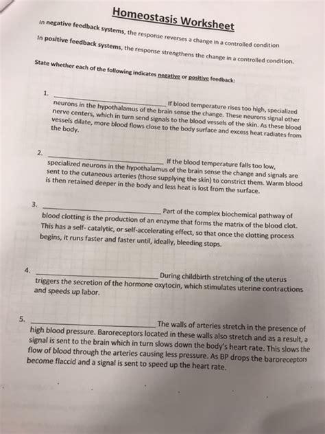 solved homeostasis worksheet  negative feedba  positi