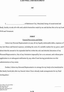 download maryland last will and testament form for free With last will and testament free template maryland