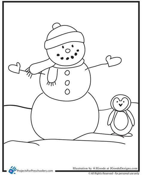 snowman and penguin coloring page ideas for school