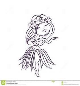 Cartoon Hawaiian Hula Dancers