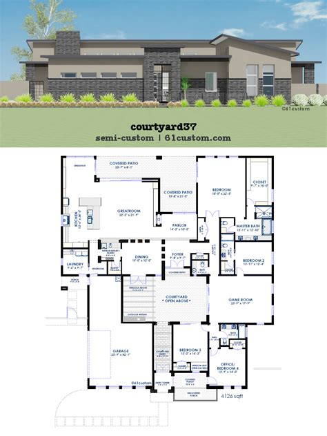 home plans with courtyard modern courtyard house plan 61custom contemporary