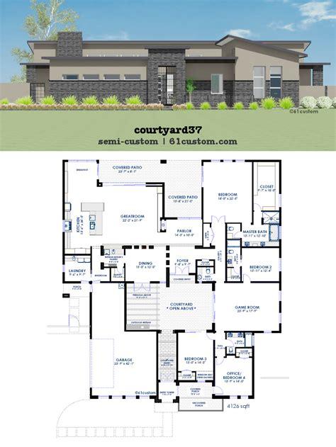 modern courtyard house plan 61custom contemporary