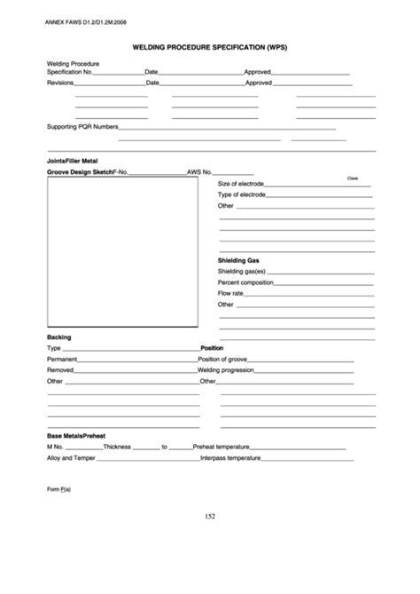 Fillable Welding Procedure Specification (Wps) Form