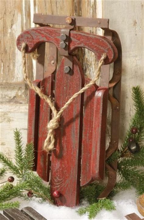 fashioned burgundy sled prop country christmas