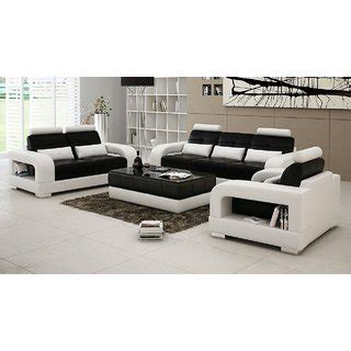 3 2 1 Sofa Set by Buy Black And White 3 2 1 Seater Sofa Set With Center
