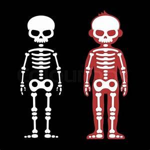 Skeletons Human Bones Set  Cartoon Style  Vector