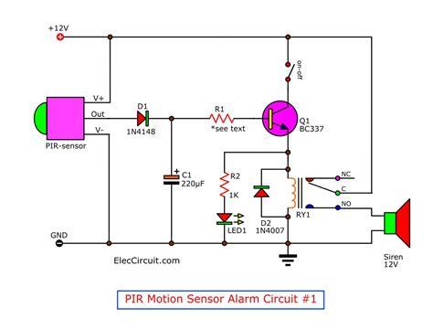 Motion Detector Alarm Circuit With Pir Sensor Simple