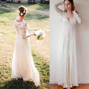 bohemian wedding dress cheap bohemian wedding dresses sleeves ivory chiffon and lace v neck floor length empire bridal