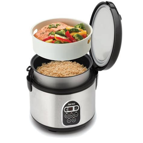 cuisine cup cook rice and fish in aroma stainless steel 20 cup digital