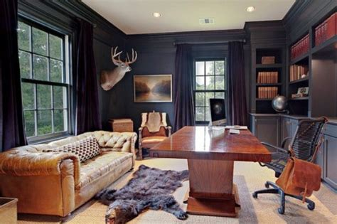 Stylish And Dramatic Masculine Home Office Design Ideas