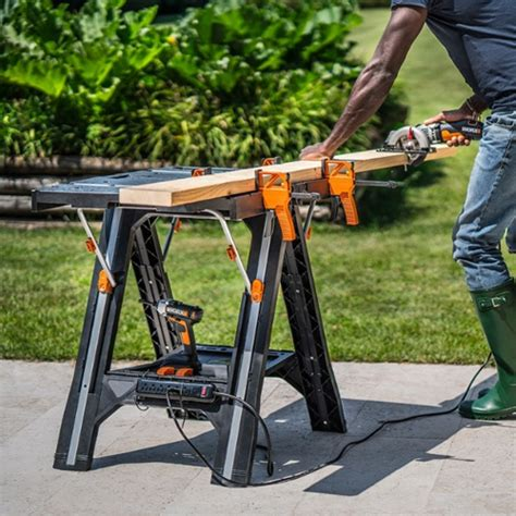 worx pegasus folding work table sawhorse wx