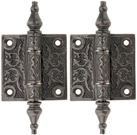 "Pair of Decorative Cast Iron Cabinet Hinges   2"" x 2"