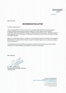 Complex General Manager Recommendation Letter