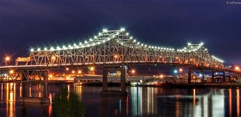 River Boat Casinos In Baton Rouge La by Mississippi River Bridge 7 9 2010 A Night Shot Of The