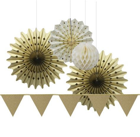 large decorative paper fans large gold glitter party decoration set bunting paper