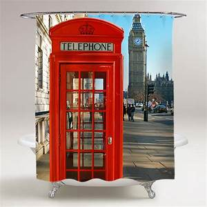Red Telephone Booth London Bathroom Shower Curtain ...