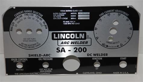 lincoln welder sa  faceplate special designs p