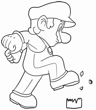 Mario Super Coloring Cartoon Drawing Pages Draw