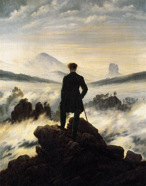 caspar david friedrich kunstwerk viandante sul mare di nebbia