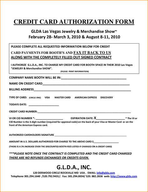 credit card authorization 7 generic credit card authorization form authorization letter