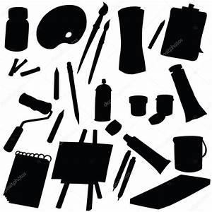 Vector silhouette art supplies — Stock Vector ...