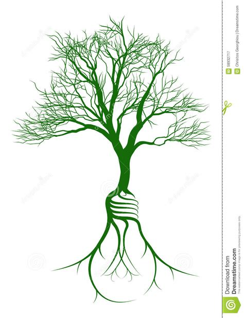 tree with light bulb roots stock vector image 58932717