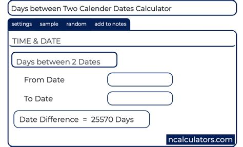 days calender calculator