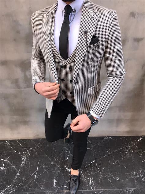 sedona black slim fit birds eye suit   suits