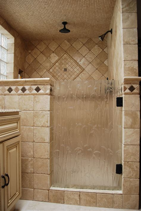 bathroom shower door ideas shower door done with bamboo textured glass bathrooms