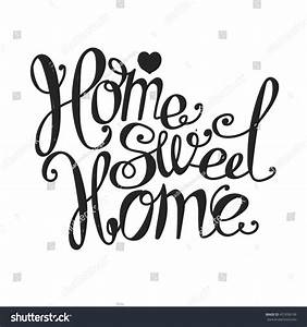 Lettering Home Sweet Home Hand Drawing Stock Vector ...
