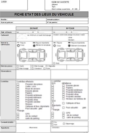 modele contrat de location voiture fiche d 233 tat des lieux location de voiture la lettre mod 232 le