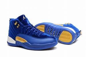 2017 Nike Air Jordan 12 In Blue Velvet-Gold/White For Mens ...