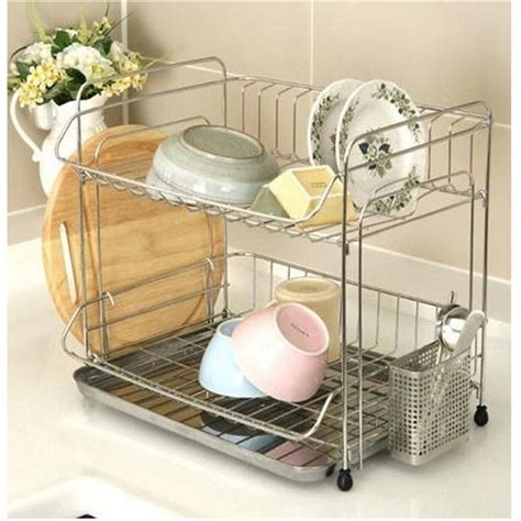 two tier dish rack stainless 2 tier dish drying rack drainer dryer tray